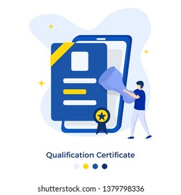 Qualification Certificate Illustration concept. can be used for onboarding mobile apps, web landing pages, banners, posters. vector-illustration