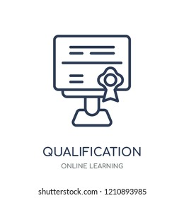 Qualification icon. Qualification linear symbol design from Online learning collection.