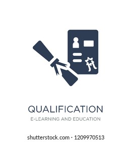 Qualification icon. Trendy flat vector Qualification icon on white background from E-learning and education collection, vector illustration can be use for web and mobile, eps10