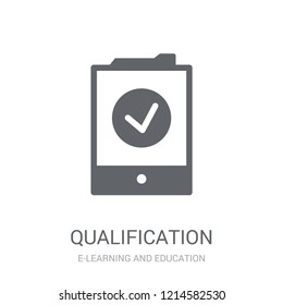 Qualification icon. Trendy Qualification logo concept on white background from E-learning and education collection. Suitable for use on web apps, mobile apps and print media.