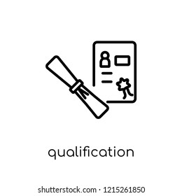 Qualification icon. Trendy modern flat linear vector Qualification icon on white background from thin line E-learning and education collection, editable outline stroke vector illustration