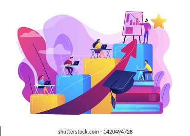 Qualification increase course, skills improvement coaching. Professional development, school authority initiative, training for teachers concept. Bright vibrant violet vector isolated illustration