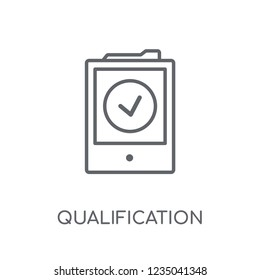 Qualification linear icon. Modern outline Qualification logo concept on white background from E-learning and education collection. Suitable for use on web apps, mobile apps and print media.