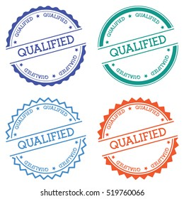 Qualified badge isolated on white background. Flat style round label with text. Circular emblem vector illustration.