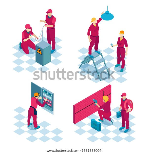 qualified electricians job concept 4 isometric stock vector  man holding bulb and socket