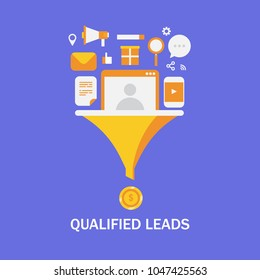 Qualified leads - Business lead generation - lead management - Sales funnel flat vector illustration with marketing icons