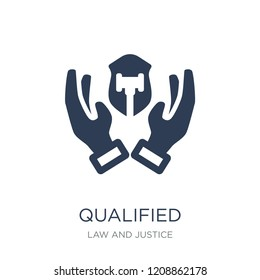 qualified protection icon. Trendy flat vector qualified protection icon on white background from law and justice collection, vector illustration can be use for web and mobile, eps10