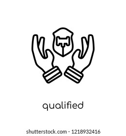 qualified protection icon. Trendy modern flat linear vector qualified protection icon on white background from thin line law and justice collection, editable outline stroke vector illustration