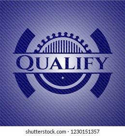 Qualify badge with denim texture
