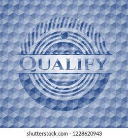 Qualify blue emblem or badge with abstract geometric pattern background.
