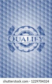 Qualify blue hexagon emblem.