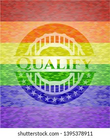 Qualify emblem on mosaic background with the colors of the LGBT flag