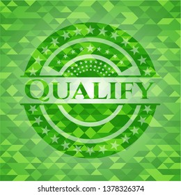 Qualify green emblem with triangle mosaic background