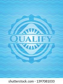 Qualify light blue water emblem background. Vector Illustration. Detailed.
