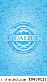 Qualify realistic light blue mosaic emblem
