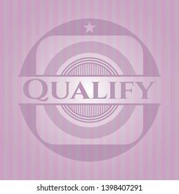 Qualify retro style pink emblem. Vector Illustration. Detailed.