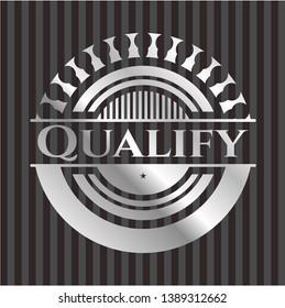 Qualify silver emblem or badge. Vector Illustration. Mosaic.