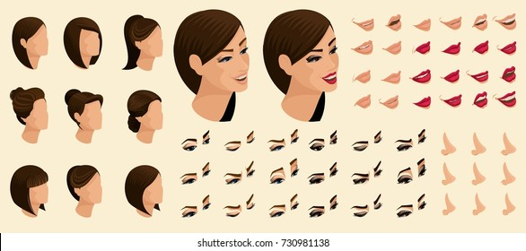 Qualitative create your emotions in the isometric and confinement, 3D face of the girl, face, eyes, lips, nose. Face expression, evening and daily make-up for vector illustrations.