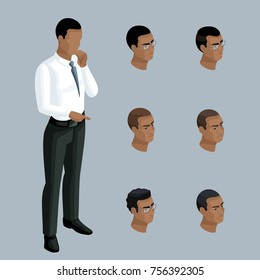 Qualitative Isometry, 3D businessman shows a man is African-American. Character, with a set of emotions and hairstyles for creating illustrations