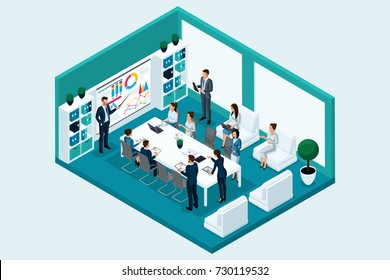 Qualitative Isometry, 3D characters, business people in the office room at the training. Vector Concept for business games