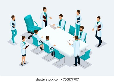 Qualitative Isometry a detailed study of characters. Medical staff, doctors, surgeons at a consultation. Excellent concept for advertising and presentations.