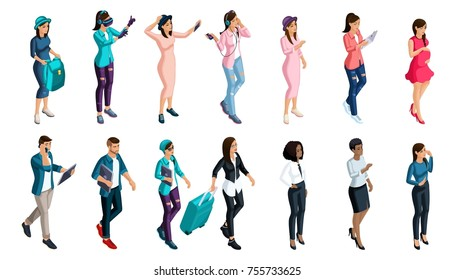 Qualitative Isometry, a set of 3D people with emotions and gestures, for use in social networks, modern subcultures, hipsters, gamers.