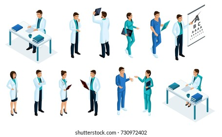 Qualitative Isometry, a set of medical staff in the process of working with different emotions. Excellent characters for advertising and presentations.