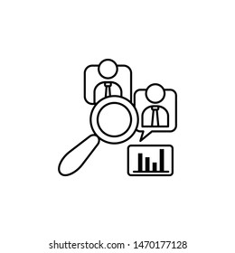 Qualitative research search icon. Element of consumer behavior line icon