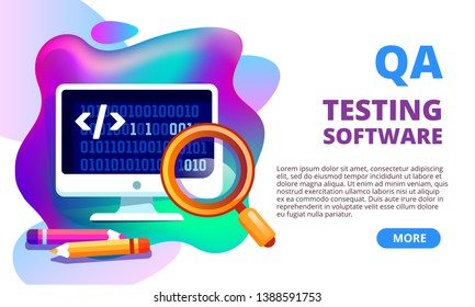 Quality assurance, product testing, QA, concept banner. IT software testing application landing pate template. Programming, coding, debugging, Software API prototyping. Question and answer.