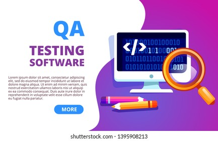 Quality assurance, product testing, QA, concept banner. IT software testing application landing pate template. Programming, coding, debugging, Software API prototyping.