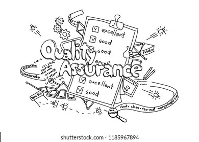 Quality assurance, vector hand drawn illustration isolated on white background