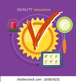 Quality assured sign grunge rubber stamp on stylish background. Concept in flat design style. Can be used for web banners, marketing and promotional materials, presentation templates