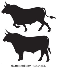 Quality black and white vector silhouettes of two bulls standing and ready to charge
