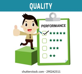 quality. businessman checklist performance box.modern design flat character isolated on white background.graphic vector illustration.business concept.