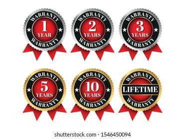 Quality certification warranty badge icon set. 1 year, 2 years, 3 years, 5 years, 10 years, lifetime warranty