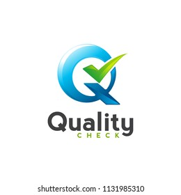 quality check q letter with tick mark vector logo design