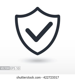 Quality is confirmed flat icon. Sign shield. Vector logo for web design, mobile and infographics. Vector illustration eps10. Isolated on white background.