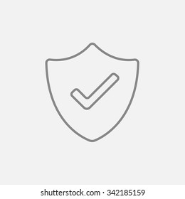 Quality is confirmed sign line icon for web, mobile and infographics. Vector dark grey icon isolated on light grey background.
