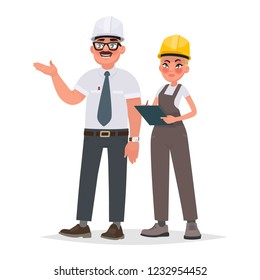Quality control of building construction, inspection at production. An engineer tells a woman inspector about the work done. Vector illustration in cartoon style