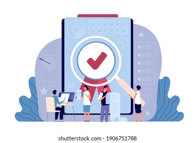 Quality control. Controlling business, iso standard certificate accept. Validation documents or authorization, flat work people utter vector concept