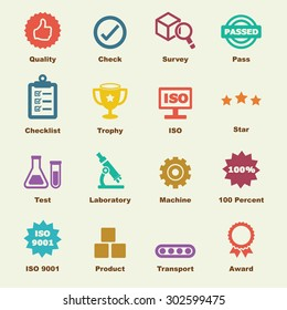 quality control elements, vector infographic icons