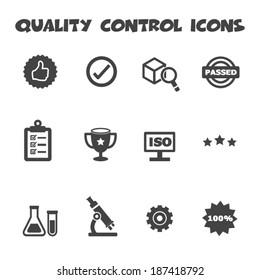quality control icons, mono vector symbols