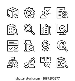 Quality control and inspection line icons set. Modern graphic design concepts, simple outline elements collection. Vector line icons