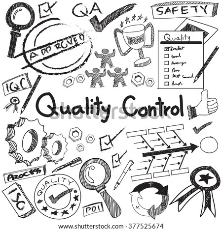Quality Control Manufacturing Industry Operation Doodle Stock Vector