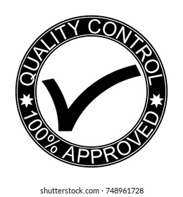 quality control. stamp. sticker, 100% approved