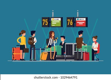 Quality detailed flat vector illustration on international airport check-in desk with airline representatives attending passengers in the queue