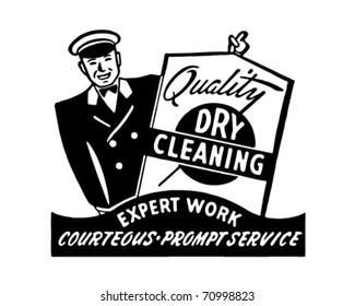 Quality Dry Cleaning - Retro Ad Art Banner