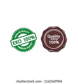 Quality eko, premium stamp, vector grange illustration isolated on white background