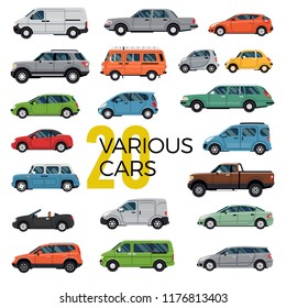 Quality flat vector collection of 20 various modern and classic cars and vehicles of different types. City and urban traffic featuring cabriolet, sedan, pickup, hatchback, microcar, van, suv and many
