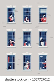 Quality flat vector illustration on neighbours. Various people seen through open and closed apartment building windows. Multiple characters in their daily city life. Privacy in big city concept